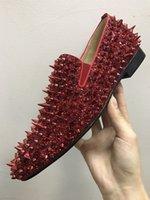 neue spikes großhandel-2018 berühmte neue männer designer glitter spikes loafers marke rote untere designer männer luxus schuhe aus echtem leder spiked wohnungen kleid schuhe