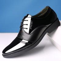 elbise ayakkabı asansörü toptan satış-Resmi Ayakkabı Erkekler Için Sivri Burun Patent Deri Düğün Oxford Ayakkabı Erkekler Kış Asansör Elbise Ayakkabı zapatos de hombre