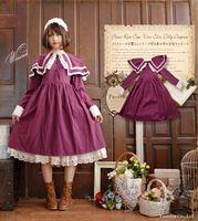 cosplay vitoriano vestidos venda por atacado-vestido lolita doce grande lapela do laço do vintage solto vestido victorian menina kawaii lolita gótico op cosplay loli princesss