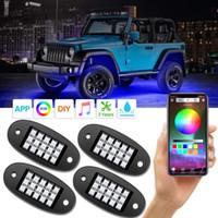 luz led de vaina al por mayor-RGB LED luces de la roca con APP 4 vainas Kit de iluminación de neón multicolor UnderGlow para Jeep carro del camino ATV SUV UTV