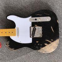 Wholesale built guitar resale online - handmade stings electric Guitar relics by hands black color master build relic guitarra