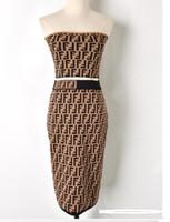 diseñador de moda vestido de la pista al por mayor-19ss de ALTA CALIDAD Nuevo vestido de pasarela de moda Vestidos Traje de diseñador Conjunto para mujer Fuera del hombro + falda Vestido informal