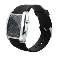 medidor hombre al por mayor-Envío rápido de la moda de los hombres LED luz Flash Turbo velocímetro deportivo coche Dial Meter relojes regalos pulsera envío de la gota