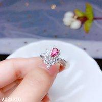 joyas de plata esterlina rosa anillo al por mayor-KJJEAXCMY boutique de joyería de plata de ley 925 con incrustaciones naturales turmalina rosa anillo de piedras preciosas de soporte femenina detección fina