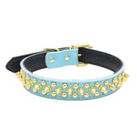 Wholesale spikes studded leather dog collar resale online - Adjustable Leather Spiked Studded Pet Puppy Dog Collar Neck Strap Popular Trend Rivet Collier De Compagnie
