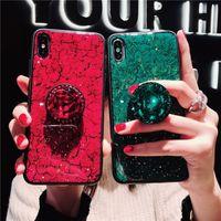 pop-telefon grün großhandel-Luxusepoxidart- und weisegrün-Rosa-Telefonkasten für iPhone X XR XS maximales 6 6S 7 8Plus Fall mit Rhinestone-Knall-Standplatz