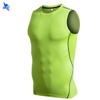 Wholesale mens compression tops resale online - Quick Dry Mens Compression Running Vest Training Workout Tank Top Fitness Tights Men Sleeveless Shirts Breathable Gym Sportswear