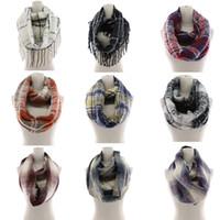 Wholesale round scarfs for sale - Group buy Plaid Scarf Ring Girls Shawl cm infinity scarf Grid Wraps Lattice round Neck Scarves Tassel Pashmina Winter Neckerchief LJJA2965