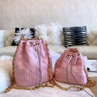bolsa de couro drawstring venda por atacado-Bolsas rosa bolsa cordão sacola de couro moda ombro alta qualidade