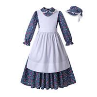 Wholesale kids european hat resale online - Pettigirl Royal Blue Flower Print Doll Collar Girls Dresses Pleated Apron With Hat Designer kid Girls Costumes G DMCS204 G005