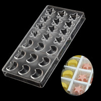 mondform schimmel großhandel-No.2213 Star Moon Shaped Polycarbonat Schokoladenform Harte PC-Form Geleebonbons Kunststoff Ramadan Eisformen