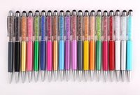 lápiz de diamante stylus touch pen al por mayor-Cristal de diamante de lujo 2 en 1 Rhinestones de pantalla táctil Capacitivo Stylus Ball Pen para teléfono móvil PC Tablet iPad