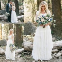 Wholesale ruffle ivory lace western dress for sale - Group buy Modest Western Country Boho Wedding Dresses Elegant Lace V Neck Half Sleeves Long Bohemian Bridal Gowns Plus Size Robe de mariée