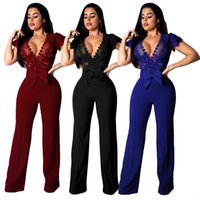 41ccfc5cc04 2019 New Sexy See Through Lace Women Jumpsuits Deep v Neck Cap Sleeves Bow  Straight Long Pants Suits for Party Work Blue Black Burgundy