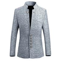 ingrosso tuxedo personalizzato unico-Giacca da uomo vintage giacca 2018 2018 stile cinese Business casual uomo giacca giacca giacca collo slim uomo 5xl