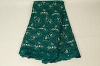 bufanda africana gele al por mayor-2020 Modest verde africano encaje con cuentas de oro Tela Aso Oke Gelè Headtie bufanda del bordado de Nigeria tela de encaje francés gasa del BF0011