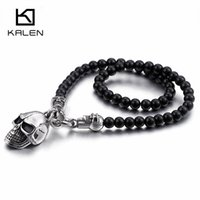 Wholesale kalen for sale - Group buy KALEN African Glass Beads cm cm cm cm Chain Necklaces Men Punk Stainless Steel Skull Pendant Statement Choker Jewelry