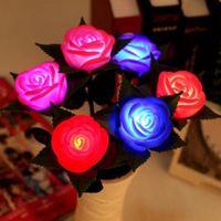 colores claros de calabaza al por mayor-Nueva Rosa Luces LED Lámpara de Flor Jardín Yarda Exterior Césped Potencia Fiesta Resplandor Resplandor Decoración de Navidad