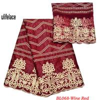 vestido vermelho venda por atacado-Vinho Vermelho Africano laço Bazin riche getzner tecido Bordado de Alta qualidade Classe Design Francês laço Líquido para o vestido nigeriano BL-068