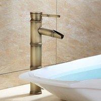luxus wasserhahn großhandel-Bad Wasserhahn Messing Waschtischarmaturen Luxus Wasserhahn Hoch Bambus Heiß Kalt Wasser Mit Zwei Rohren Küche Outdoor Garten WC Wasserhähne