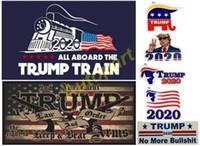 fenêtre drapeau pour la voiture achat en gros de-meilleur vendeur Donald Trump 2020 autocollants de voiture autocollant de voiture trompette locomotive autocollants fenêtre de train autocollant Amérique drapeau autocollant atout pistolet