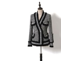 ingrosso pulsanti colorati perla-Barocco Designer carriera Blazer rappezzatura donne di colore di contrasto Tweed giacca di tweed con scollo a V Pearl Buttons nappa Blazer
