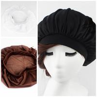 эластичный атласный цвет оптовых-Эластичный бортовой чистый цвет Баотоу шляпа дамы открытый мода уход за волосами солнцезащитный крем крышка широкий диапазон атласный капот 4 5yd I1
