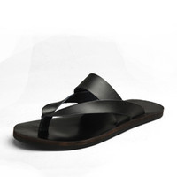 Wholesale man made leather slippers resale online - Genuine leather Mens slippers hand made slippper indoor scuffs comfortable house slippers outdoor using slipper with skidproof sole zy215