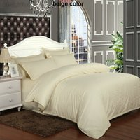 Wholesale hotel quilt cover for sale - Group buy Beige Yellow Stripes Hotel Bedding Set Satin Cotton Duvet Cover Quilt Cover Twin Full Queen King Super King Sizes