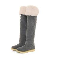 модные женские длинные сапоги оптовых-Ladies Fashion Winter Women Boots Flat Bottom Boots Shoes Over The Knee Thigh High Suede Long