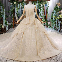Wholesale shells training for sale - Group buy 2019 Summer Latest Wedding Dresses Strapless Shell Chest Sleeveless Ruffle Backless Lace Up Back Sequins Lace Applique Bridal Gowns Garden