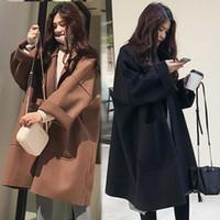kadın uzun yün kışlık toptan satış-Marka Sonbahar Kış Kadın Coat Gevşek Profili Yün Palto Uzun Büyük Yün Bayan Kore Uzun Kollu Sıcak Coat Yünlü Parkası