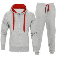 Wholesale men s white outfit resale online - Mens Hooded Tracksuits Hoodies Cardigan Long Sweatpants Suits Casual Active Slim Sets Hommes Hooded Tops Outfits Streetwear