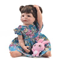 bebeğin canlı silikonu toptan satış-23 Inç Moda Reborn Alive Kız Bebek Tam Vücut Silikon Gerçekçi Prenses Bebek Bebek Çocuklar Için Noel Hediyeler DIY Saç Stili