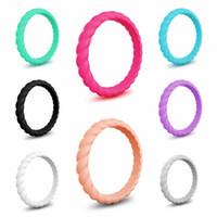 3 mm kauçuk toptan satış-Moda Büküm Silikon Kauçuk Halka 3 MM Örgü Mulitcolor Spor Yüzükler Düğün Basitlik Kadınlar Takı Yenilik Öğeleri Parti Hediye TTA705