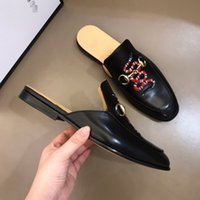 Wholesale tiger shower resale online - Fashion Women Mens Luxury Leather Loafers Muller Moccasins Slipper Shoes with Buckle Tiger Slippers Ladies Casual Mules Flats Shoes Sneakers