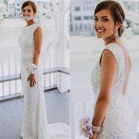 Wholesale sexy wedding party dresses online - 2019 White Backless Sequined With Sweep Mermaid Prom Dress High end Customed Made Vestidos De Novia Party Gown