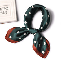 печатный шелковый платок оптовых-2019 designer  women scarf fashion dot print soft small silk scarves square neck Handkerchief official shawl foulard