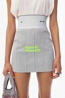 tricot élastique achat en gros de-Jupe en tricot élastique à taille haute pour femmes, taille haute