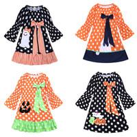 ingrosso punti di rosa-Le ragazze di Halloween vestito stampato 4 flare design manica zucca fantasma Dot stampato il vestito Kids Designer ragazze Outfits Bow Tie Dress 9M-6T 04