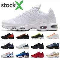 Wholesale white yellow painting resale online - Stock x tn plus SE men running shoes triple black white red D Glasses Hyper blue Spray paint mens trainer breathable sports sneakers