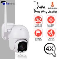 mini cámaras al aire libre ip dome al por mayor-Mini cámara IP WiFi HD 2MP 1080P Inalámbrico PTZ Speed Dome 4X Zoom óptico Cámara CCTV Onvif Audio exterior Seguridad Vigilancia