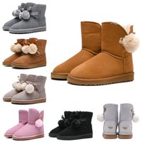 Wholesale new flat heels resale online - 2019 New Women Boots WGG Australia Classic Snow Booties Bailey Hairball Bow Tie Ankle Knee Womens Girls Luxury Designer Winter Boot