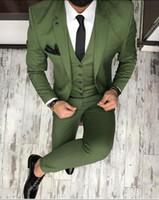 westen für dünne männer großhandel-Maßgeschneiderte grüne Männer Anzug Slim Fit Skinny 3 Stück Smoking Custom Bräutigam Blazer Prom Party-Anzüge (Jacke + Hose + Weste) K590