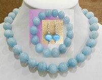 brasilianische halsketten großhandel-BRAZILIAN blau PERLENKETTE Halskette Ohrringe 14MM