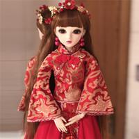 machen chinesisches kleid großhandel-1/3 BJD Mit Roten Chinesischen Braut Kleid Make-Up 60 cm Beweglichen Gelenk Silikon Reborn Puppe Hochzeitsgeschenk Für Freunde