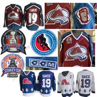 ingrosso quebec jersey-Joe Sakic Jersey 1996 2001 Stanley Cup 2012 Hall Of Fame Colorado Avalanche Quebec Nordiques Maglie di hockey su ghiaccio