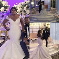 Wholesale simple african wedding dresses resale online - Mermaid African Plus Size Wedding Dresses Off Shoulder Lace Appliques Beaded Wedding Dress Bridal Gowns Custom Made