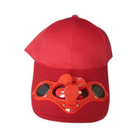 Wholesale solar powered bicycles resale online - Summer Solar Sun Power Cap Solid Color Hat With Cool Fan For Outdoor Sport Bicycling Fishing Climbing ED shipping