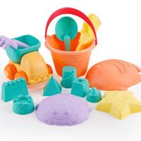 pala plástica de playa al por mayor-Bebé, plástico, verano, playa, arena, cubos, rastrillos, palas, playa, juguetes, conjunto, 3 años, multicolor